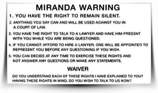 Image of Miranda Warning Card
